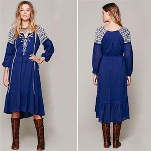 Free People Dream Weaver Blue Embroidered Dress S